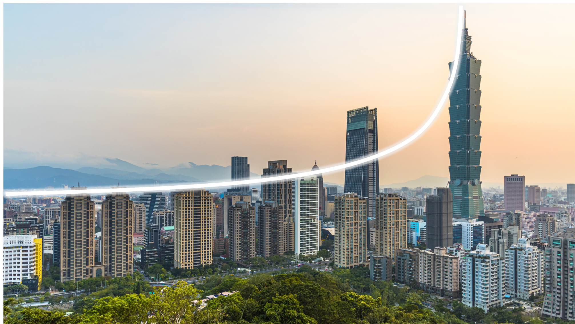 Taipei Skyline Symbolizing Exponential Curve