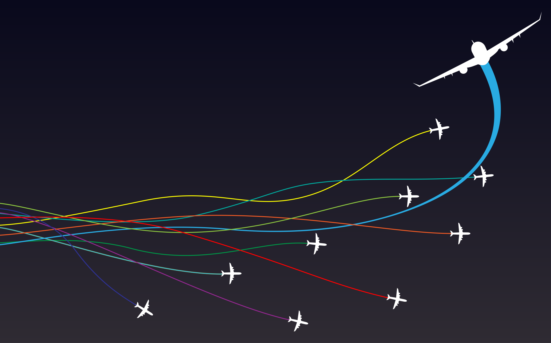Illustration of multiple passenger jets with different colored jet trails.